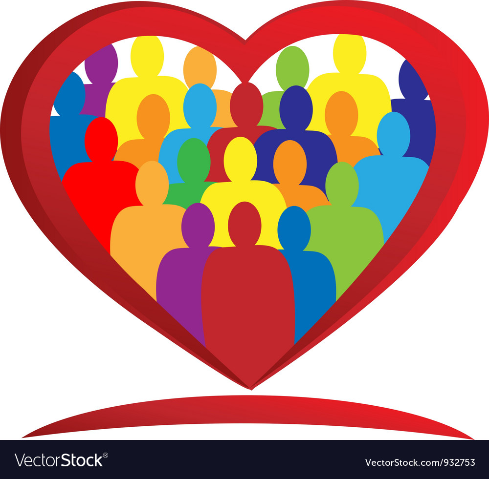 Diversity people heart vector | Price: 1 Credit (USD $1)