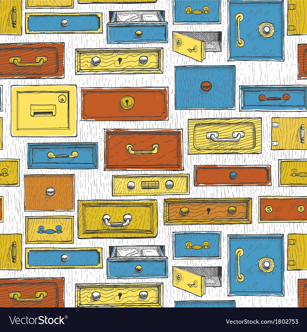 Doodle cartoon color drawers pattern vector | Price: 1 Credit (USD $1)