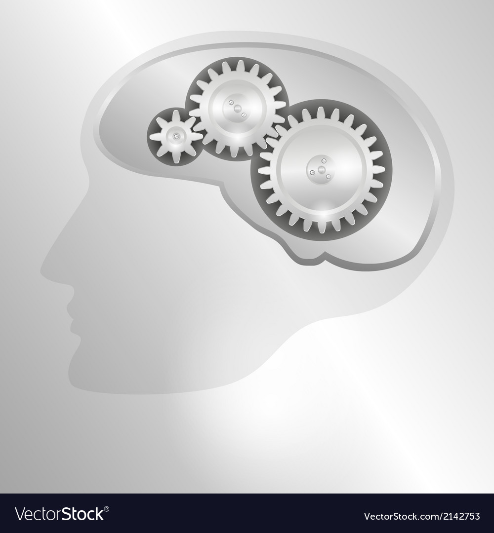 Human head with a mechanical brain vector | Price: 1 Credit (USD $1)