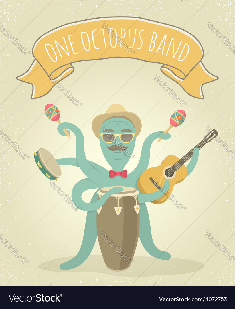 Latino octopus play music vector | Price: 1 Credit (USD $1)
