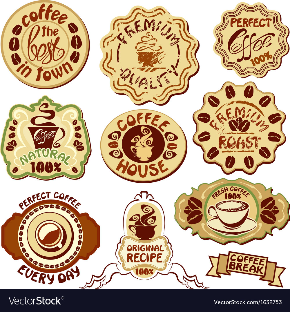 Set of coffee labels - hand drawn icons of cup vector | Price: 1 Credit (USD $1)