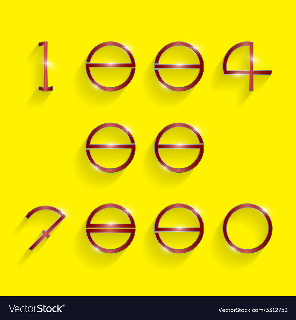Shinning circle digit style on yellow background vector | Price: 1 Credit (USD $1)