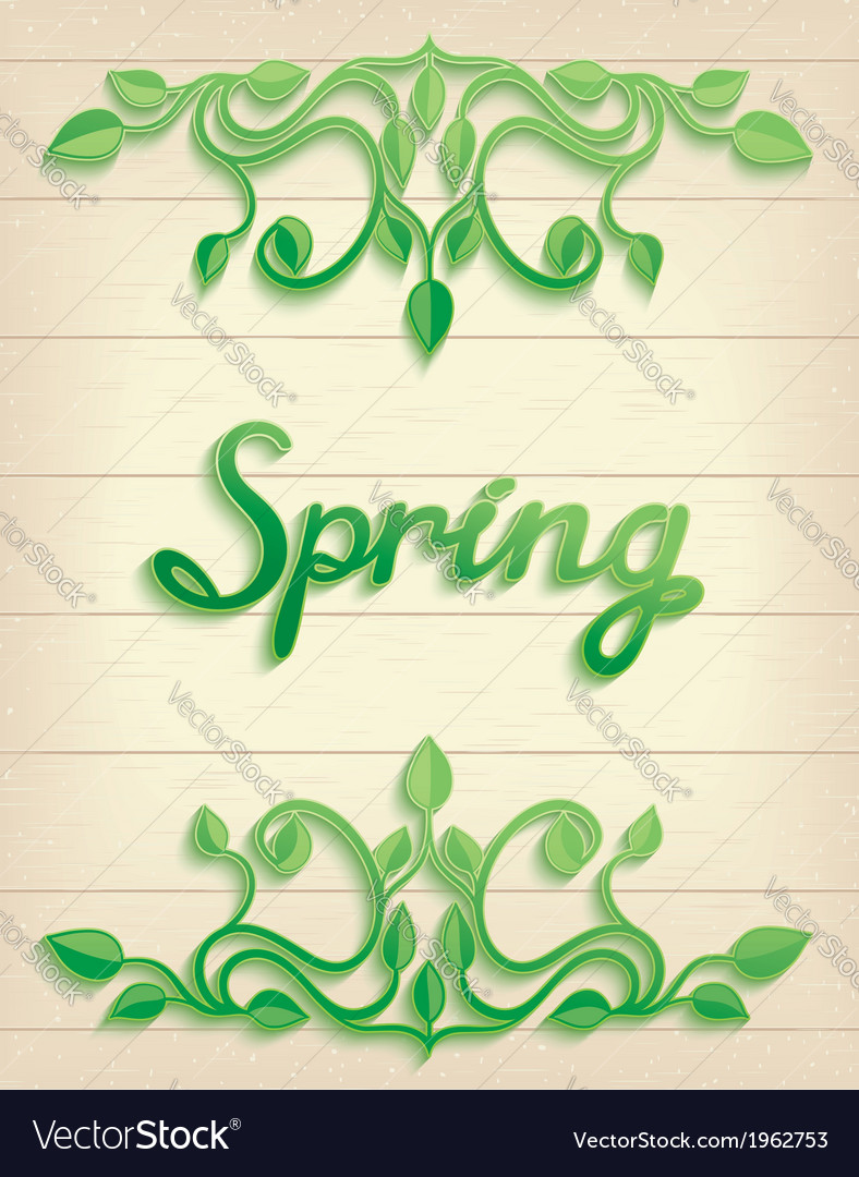 Spring word with leaves composition vector | Price: 1 Credit (USD $1)