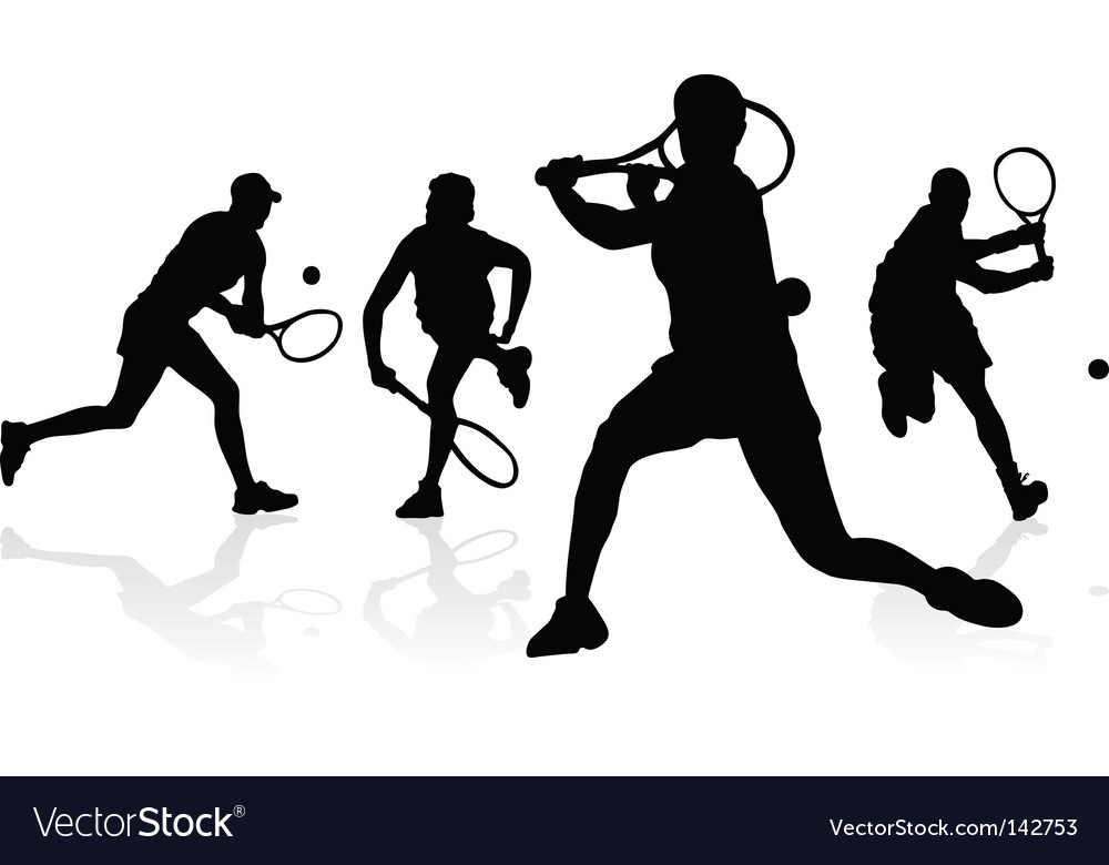 Tennis silhouettes vector | Price: 1 Credit (USD $1)