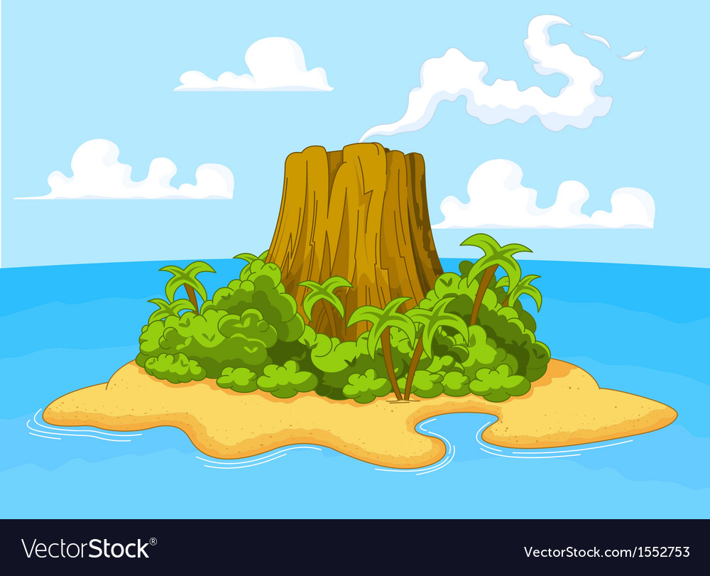 Volcano island vector | Price: 3 Credit (USD $3)