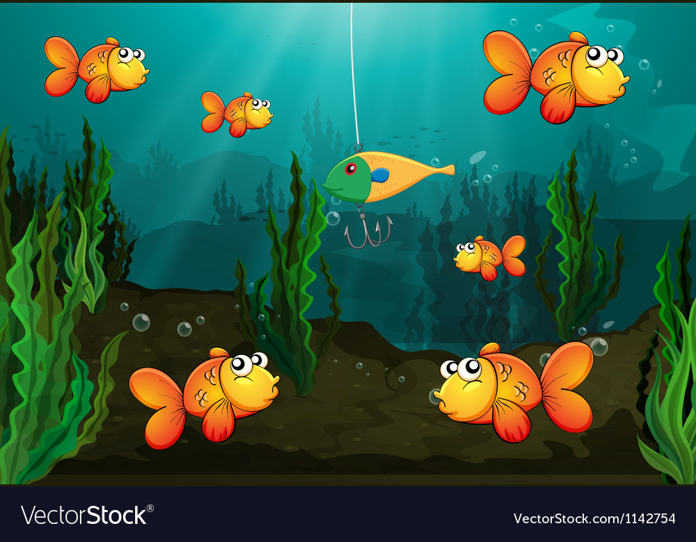 A fish caught in a bait vector | Price: 1 Credit (USD $1)