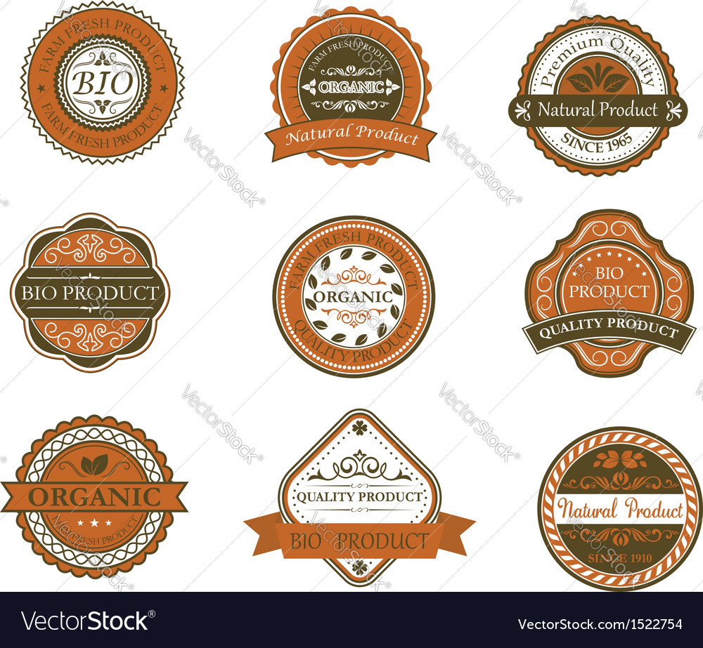 Bio and organic labels vector | Price: 1 Credit (USD $1)
