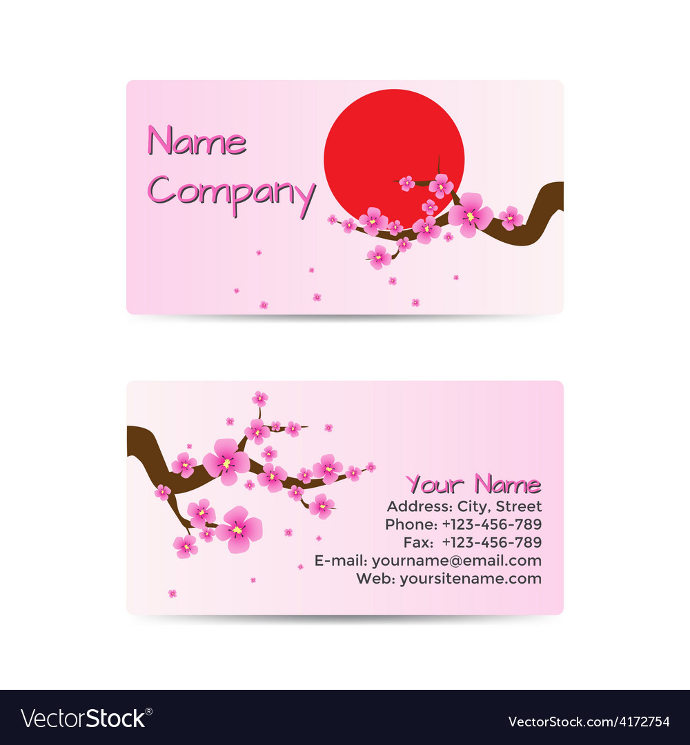 Business card with blooming sakura vector | Price: 1 Credit (USD $1)