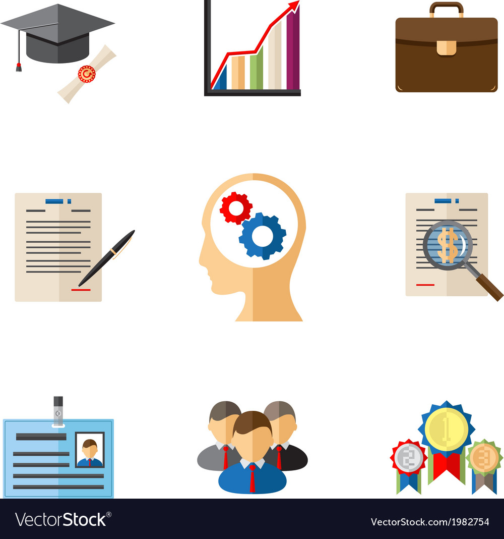 Business career colored icons vector | Price: 1 Credit (USD $1)