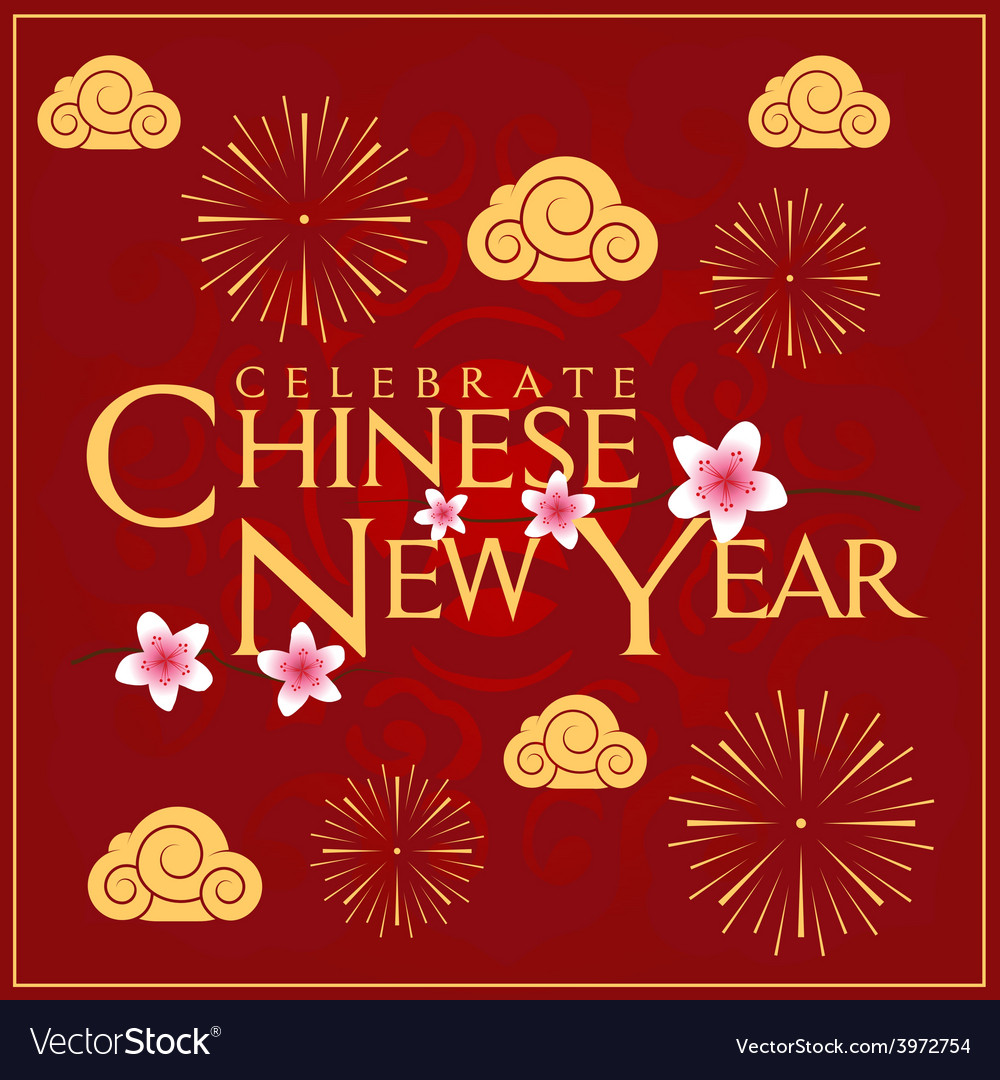 Celebrate chinese new year card minimal design vector | Price: 1 Credit (USD $1)