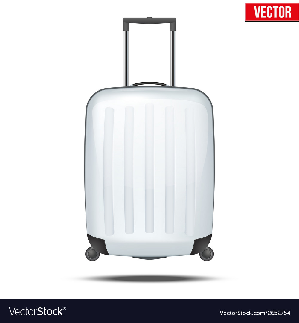 Classic white plastic luggage suitcase for air or vector | Price: 1 Credit (USD $1)