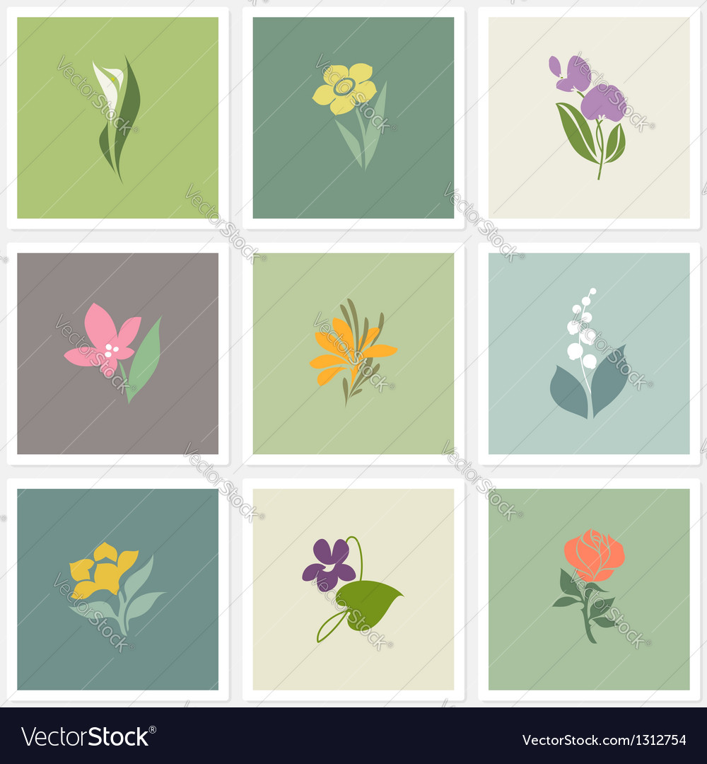 Flower logo templates set vector | Price: 1 Credit (USD $1)