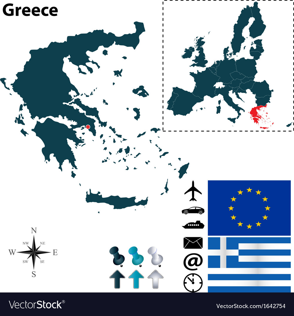 Greece and european union map vector | Price: 1 Credit (USD $1)