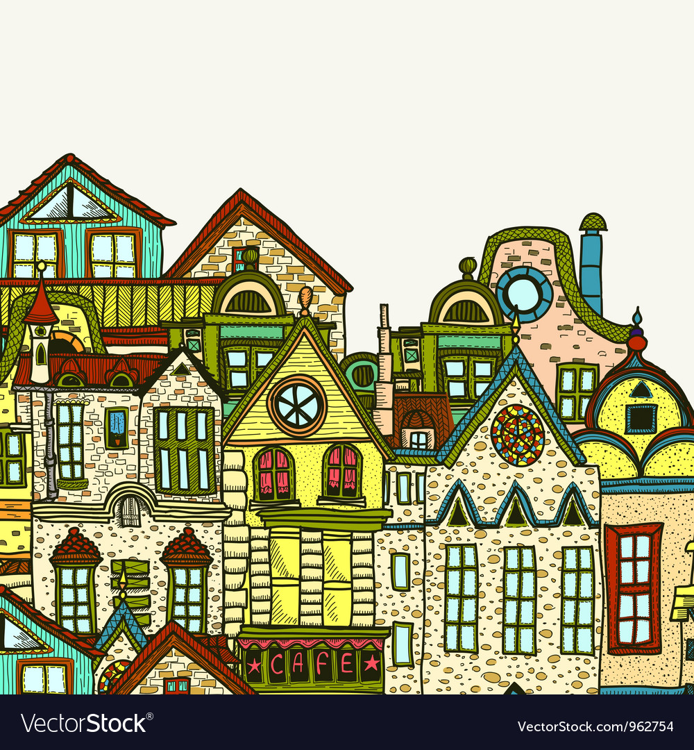 Hand-drawn old town background vector | Price: 1 Credit (USD $1)