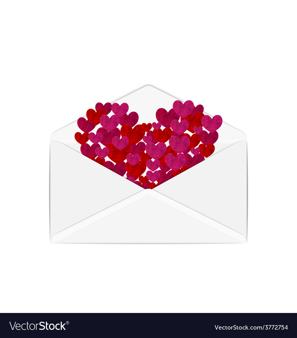 Paper grunge hearts in open white envelope - vector | Price: 1 Credit (USD $1)