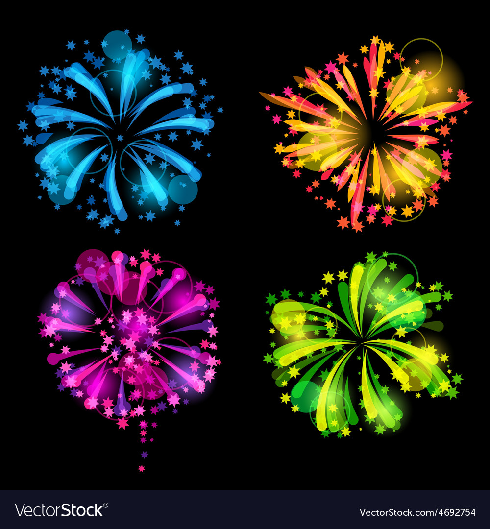 Set of bright colorful fireworks and salute vector | Price: 1 Credit (USD $1)