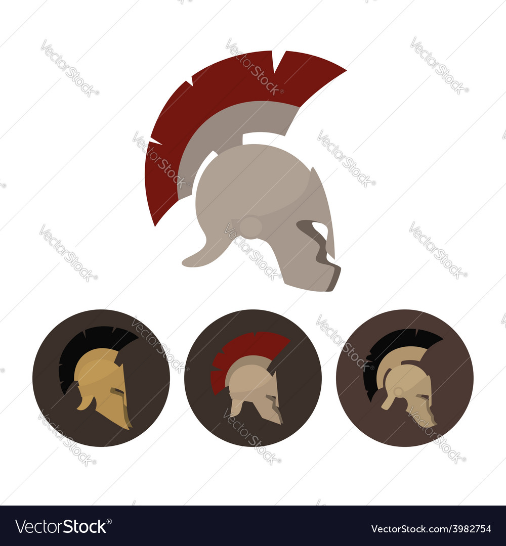 Set of four antique helmets vector