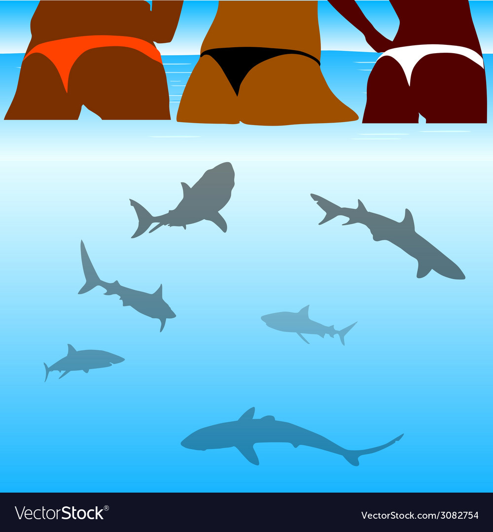 Shark and beauty bikini girl vector | Price: 1 Credit (USD $1)