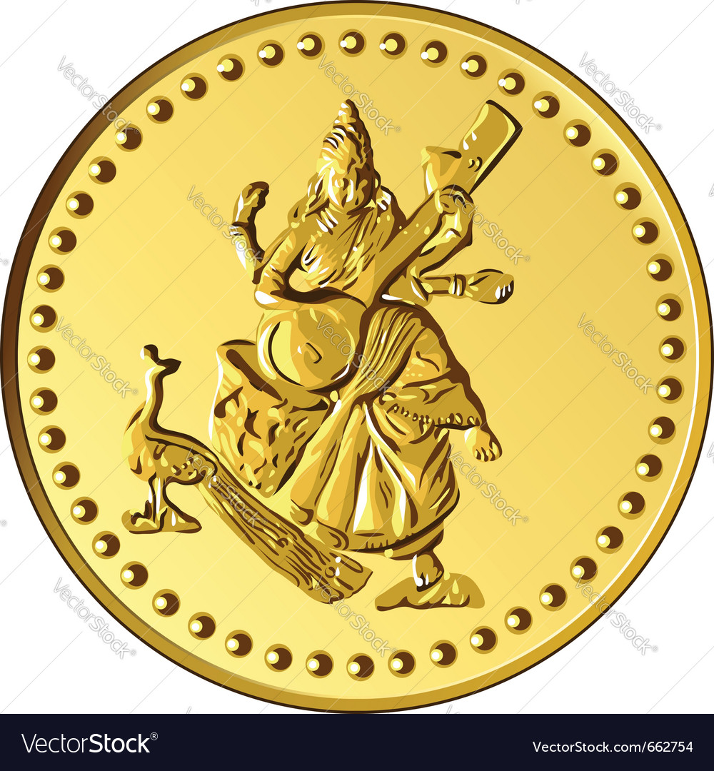Shiny gold coin with the image of dancing and play vector