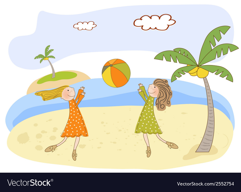 Two girls play on the beach vector | Price: 1 Credit (USD $1)