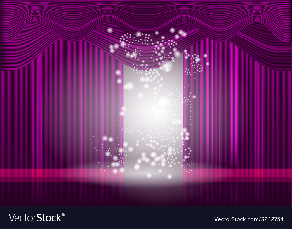 Violet theatre stage curtain vector | Price: 1 Credit (USD $1)