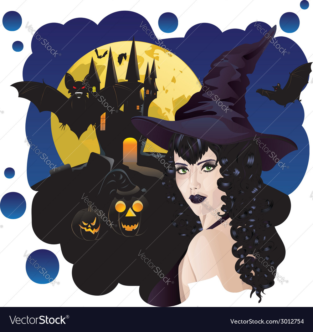 Witch and bats2 vector | Price: 1 Credit (USD $1)