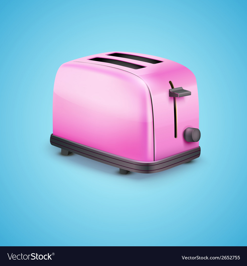 Bright pink toaster on blue background vector | Price: 1 Credit (USD $1)