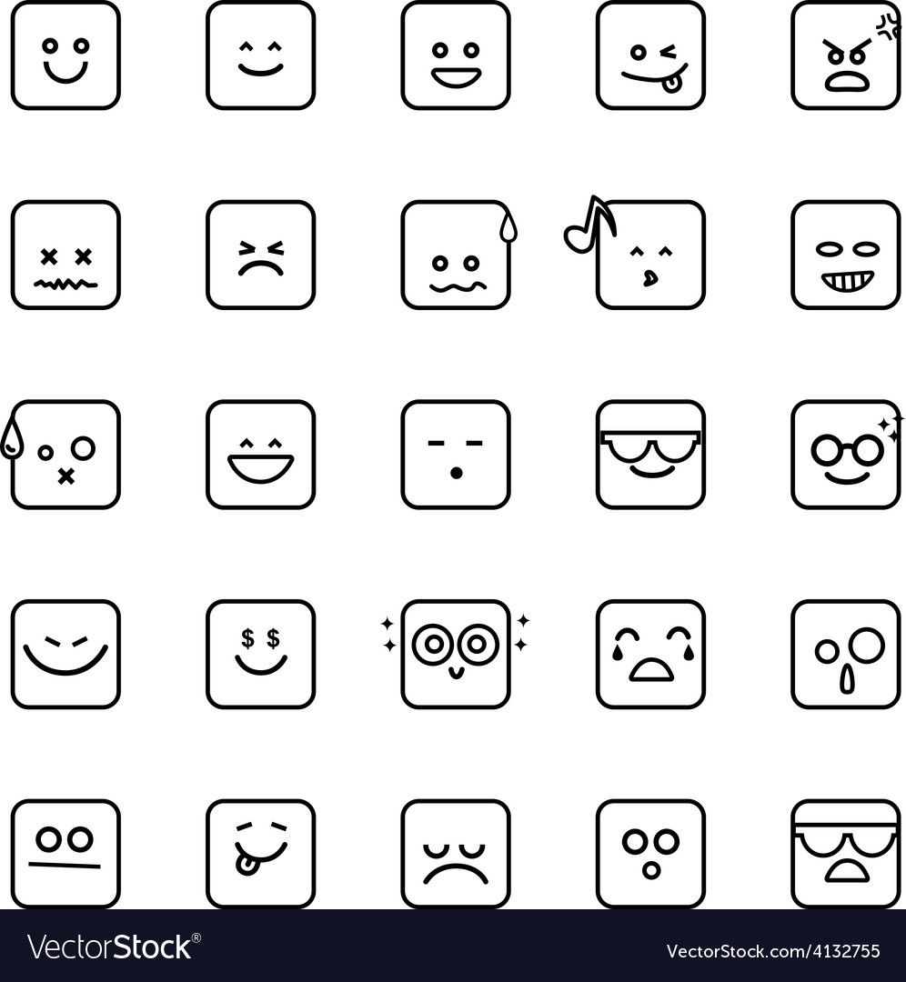 Collection of difference emoji line linear icon on vector | Price: 1 Credit (USD $1)