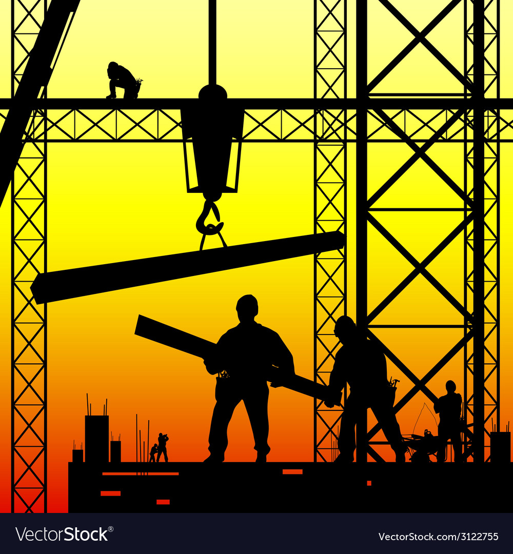 Construction worker at work and dusk vector | Price: 1 Credit (USD $1)