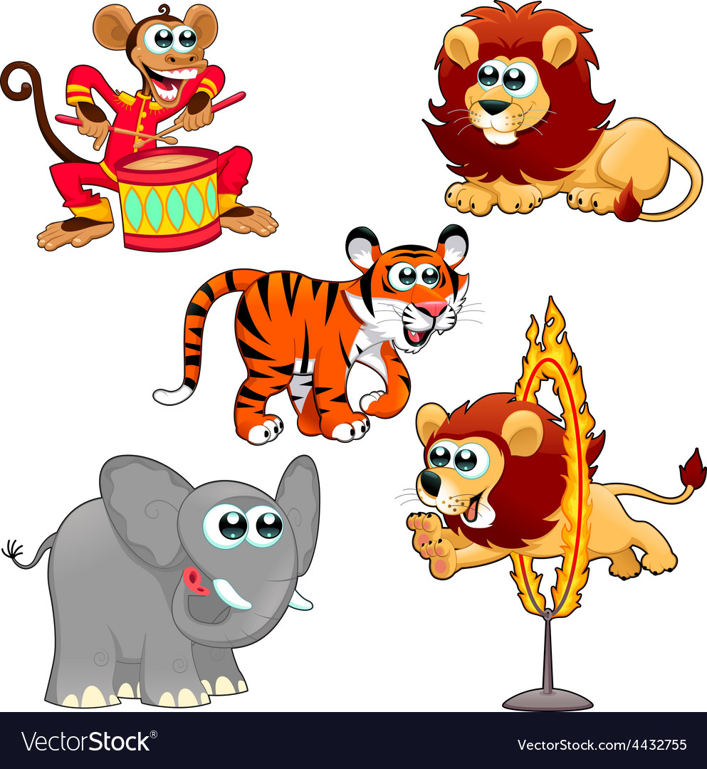 Funny circus animals vector