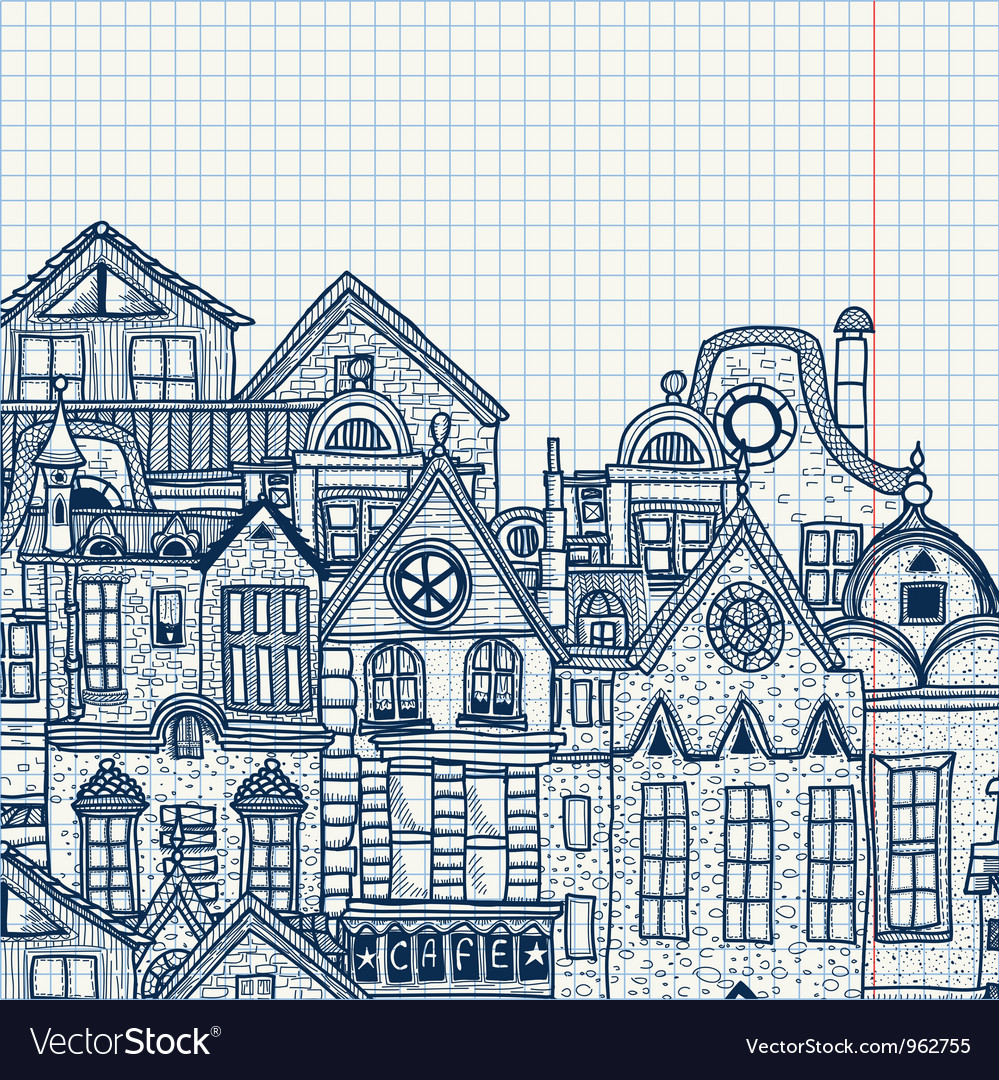 Hand-drawn old town vector | Price: 1 Credit (USD $1)