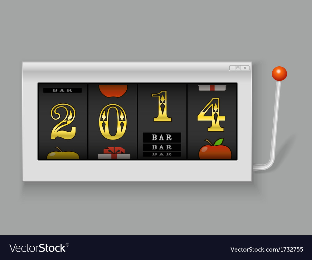 Happy new year slot maching with 2014 digits vector | Price: 1 Credit (USD $1)