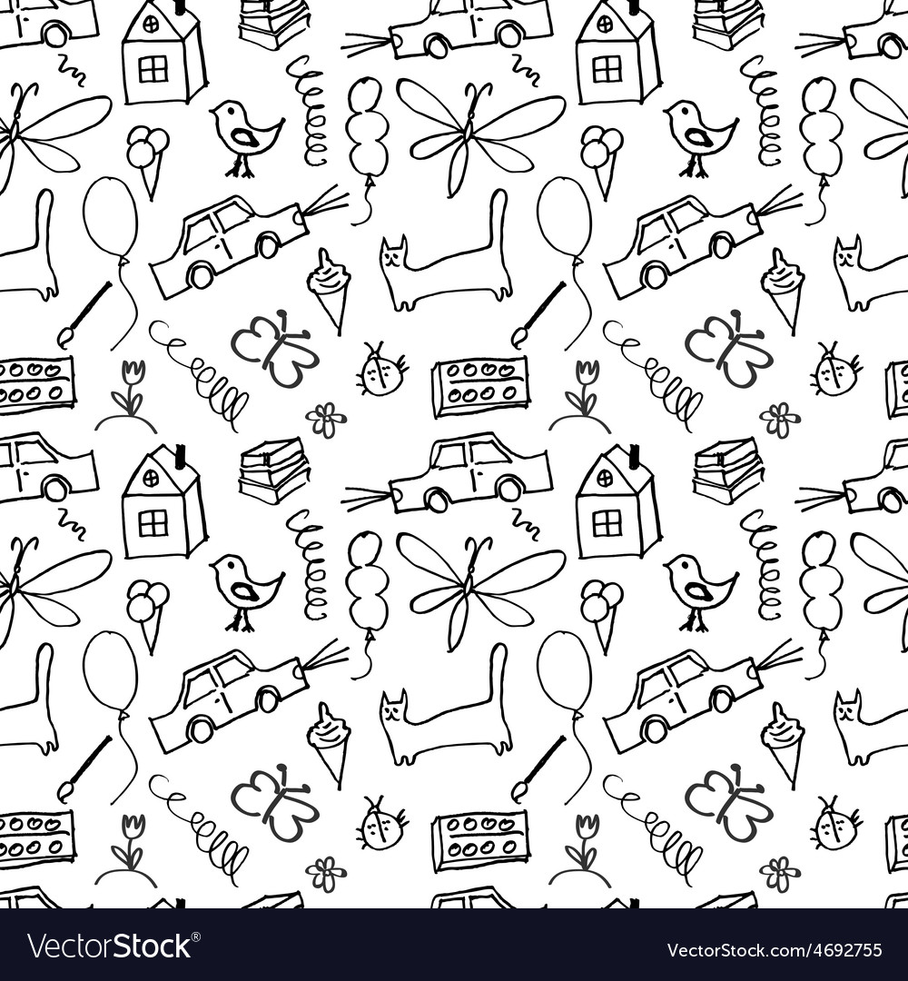 Seamless pattern drawn in a childlike style vector   Price: 1 Credit (USD $1)