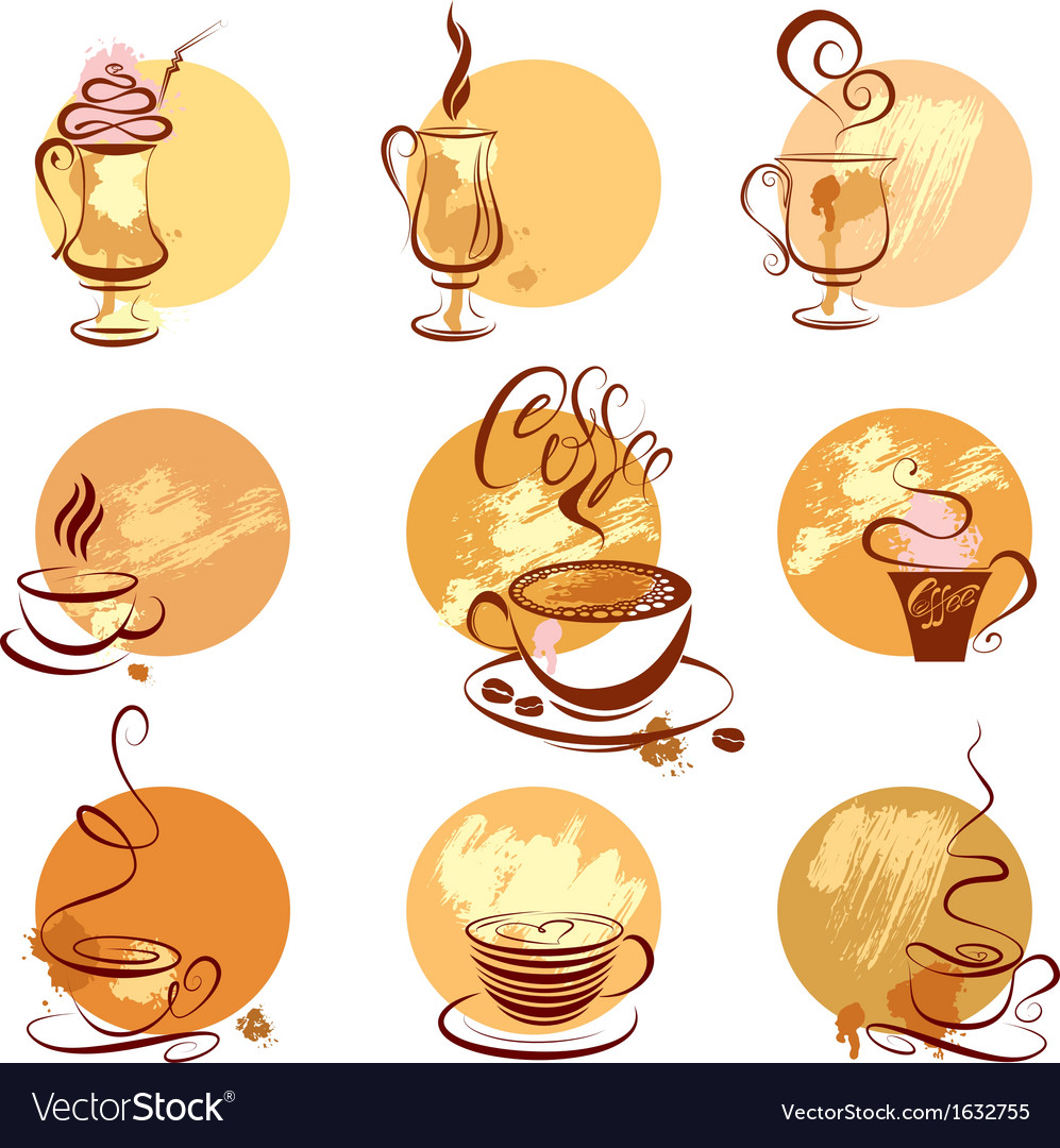 Set of coffee cups icons stylized sketch symbols vector | Price: 1 Credit (USD $1)