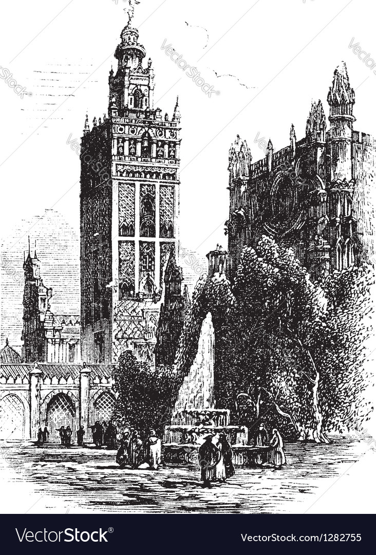 Seville cathedral vintage engraving vector | Price: 1 Credit (USD $1)