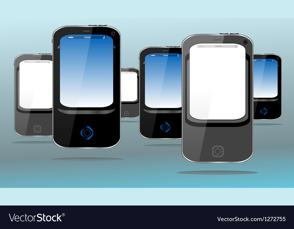 Touch screen pda mobile phone and smart phone set vector | Price: 1 Credit (USD $1)