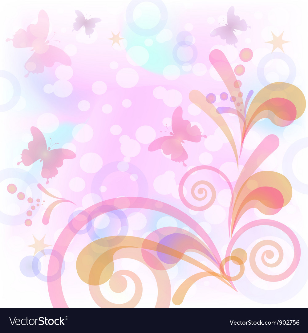 Background with butterflies and figures vector | Price: 1 Credit (USD $1)