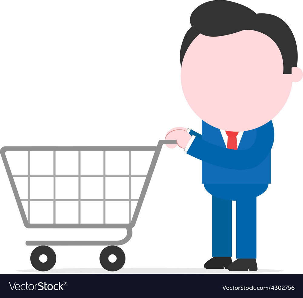 Businessman holding shopping cart vector | Price: 1 Credit (USD $1)
