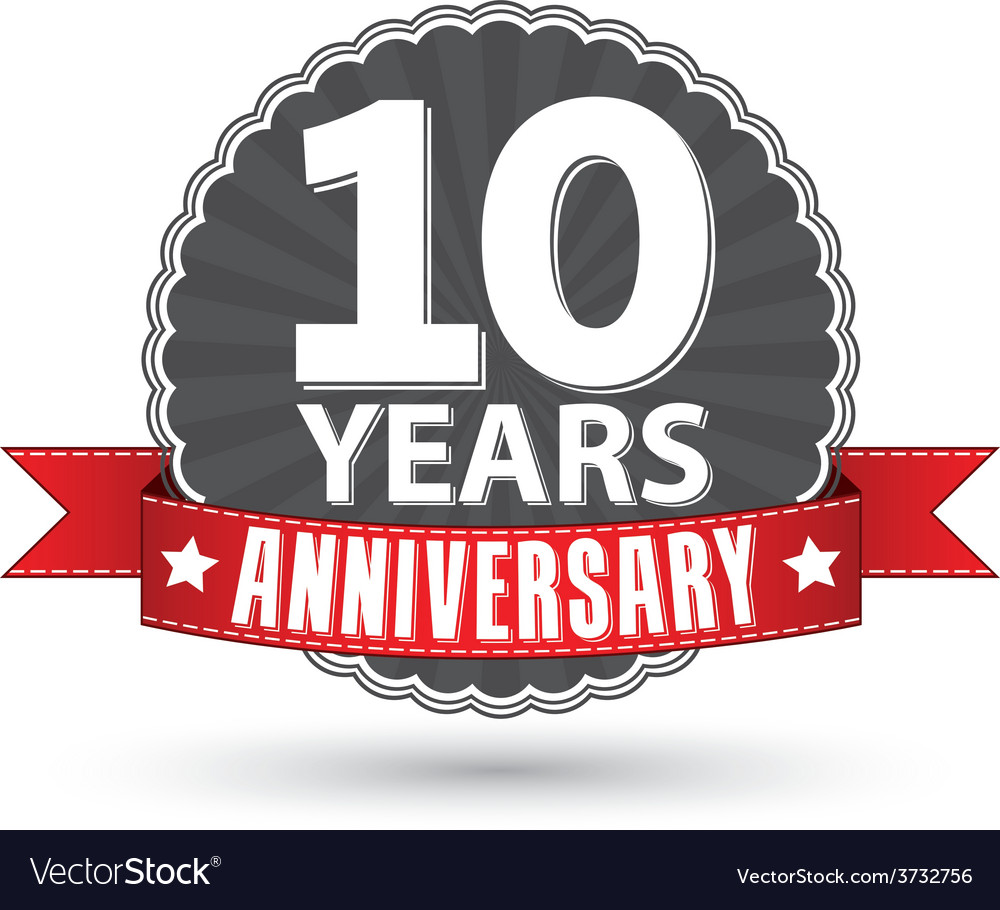 Celebrating 10 years anniversary retro label with vector | Price: 1 Credit (USD $1)