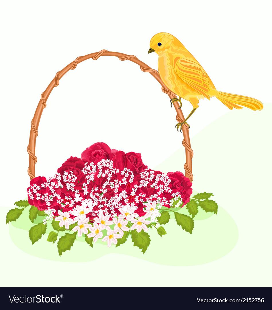 Golden-bird-and-flowers vector | Price: 1 Credit (USD $1)