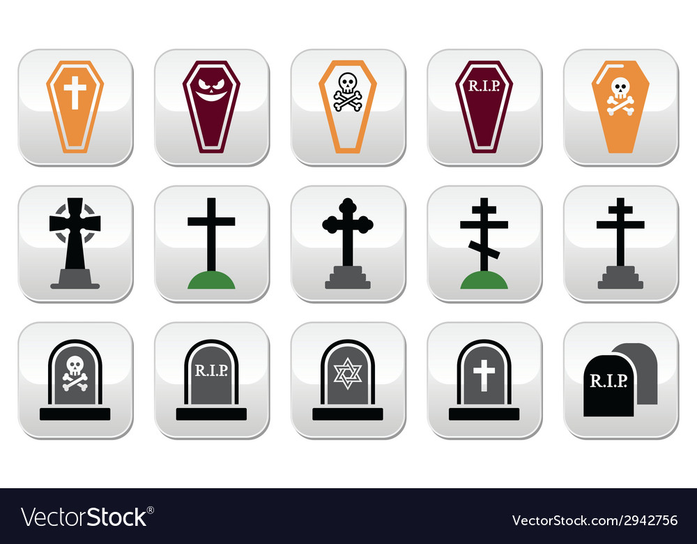 Halloween graveyard icons set - coffin cross gr vector | Price: 1 Credit (USD $1)
