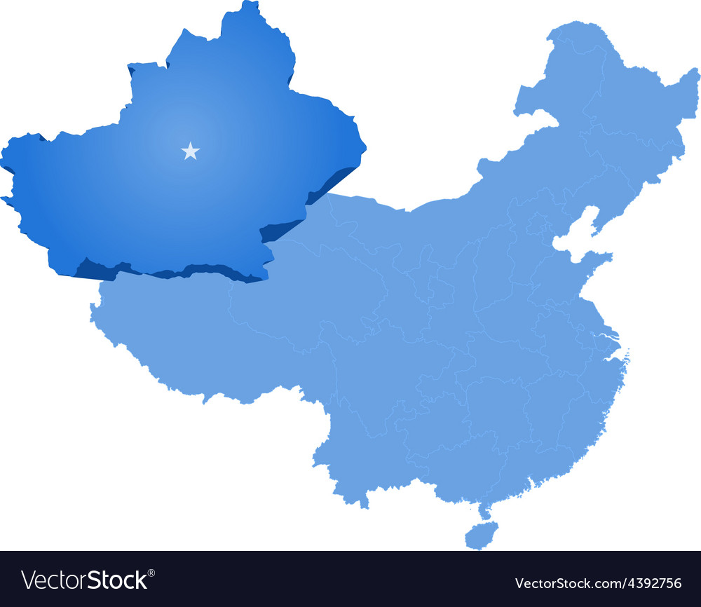 Map of peoples republic of china - xinjiang uyghur vector   Price: 1 Credit (USD $1)