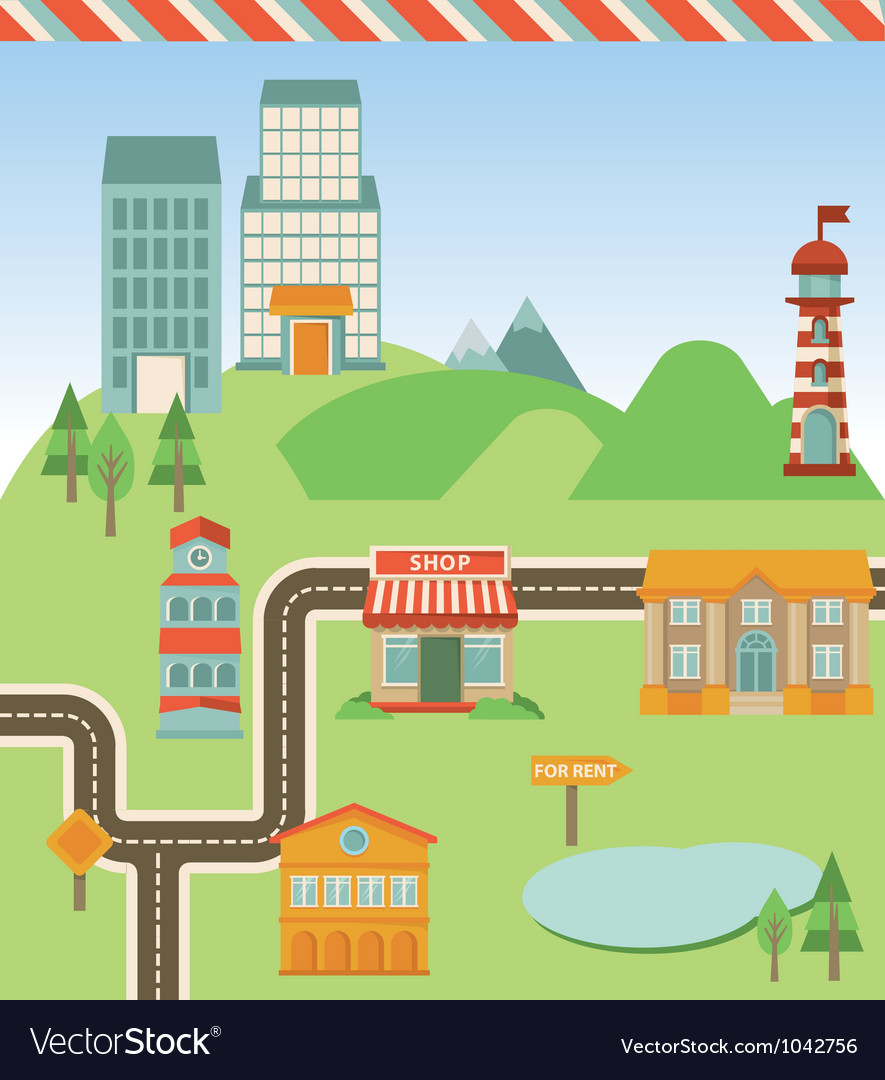 Map with houses road and signs vector | Price: 1 Credit (USD $1)