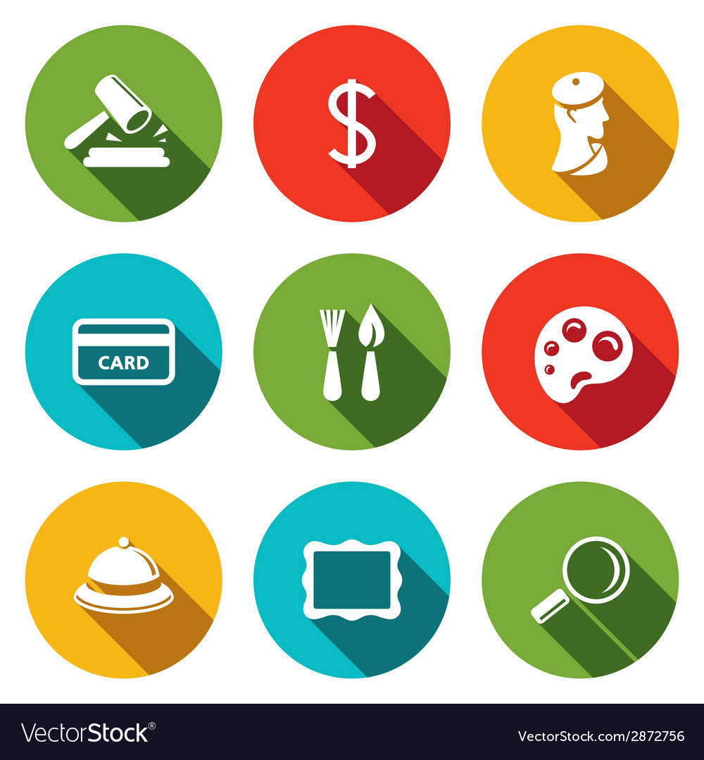 Museum flat icon collection vector | Price: 1 Credit (USD $1)