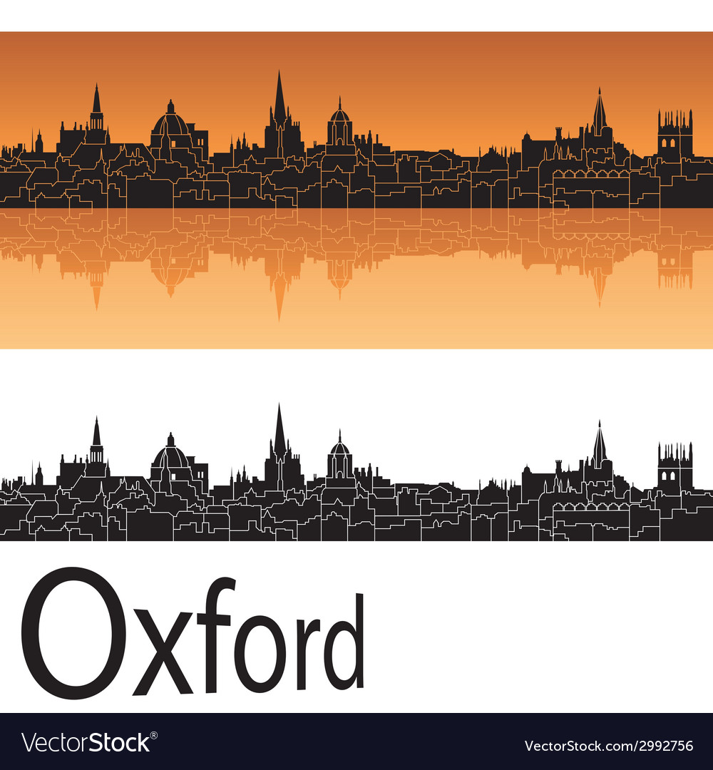 Oxford skyline in orange background vector | Price: 1 Credit (USD $1)