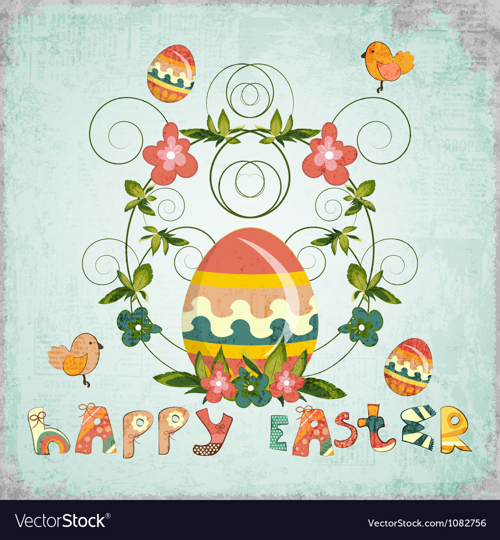 Retro design of easter card vector | Price: 1 Credit (USD $1)
