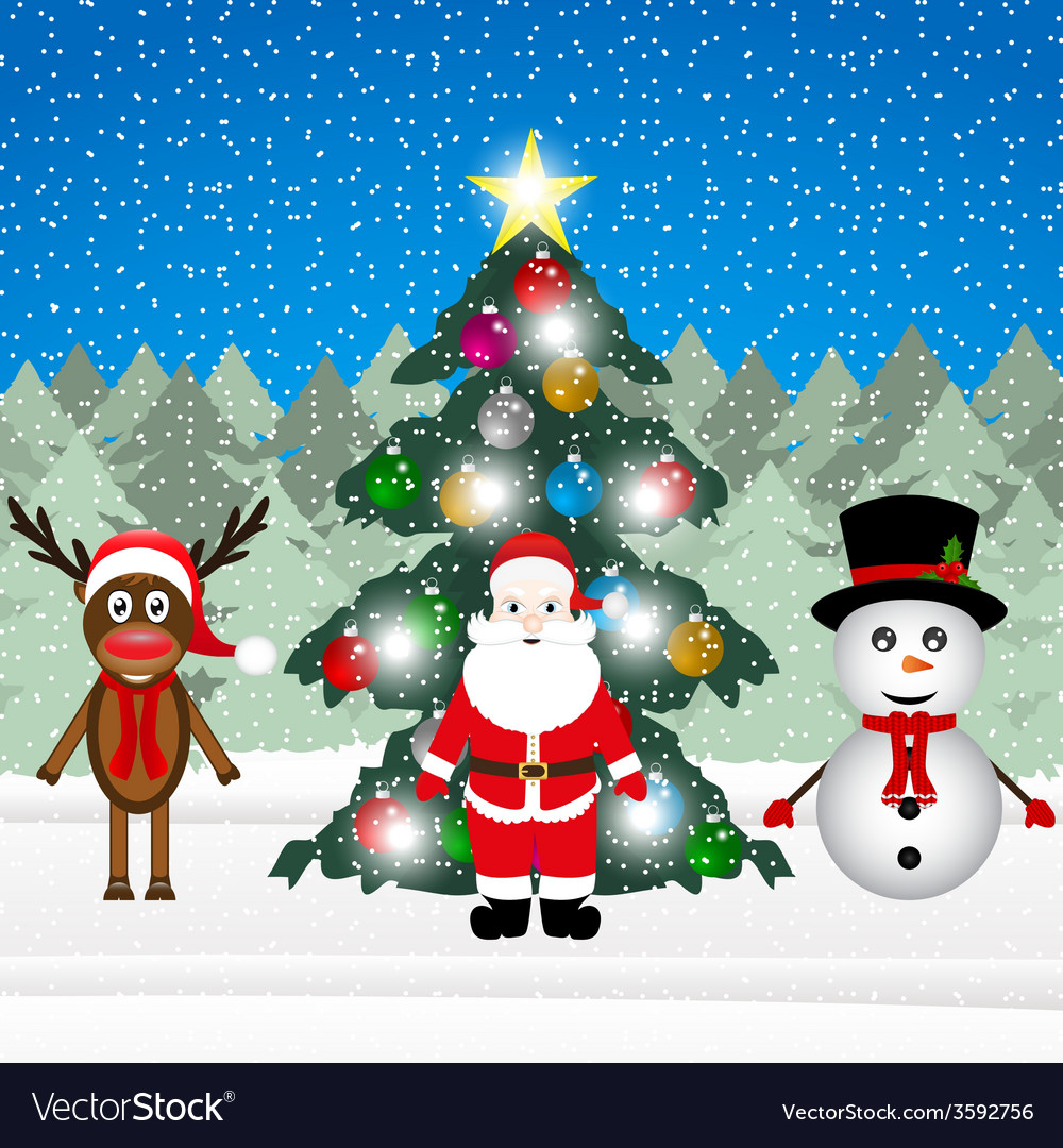 Sata claus a reindeer and a snowman vector | Price: 1 Credit (USD $1)