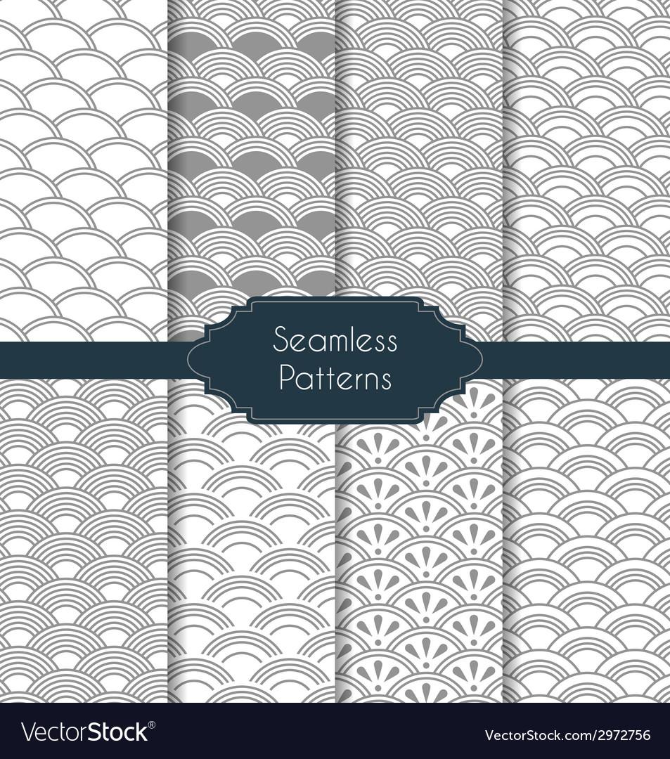 Set of geometric seamless patterns vector | Price: 1 Credit (USD $1)