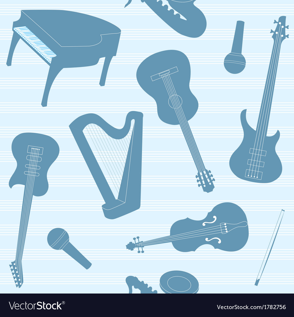 Striped pattern with musical instruments vector | Price: 1 Credit (USD $1)