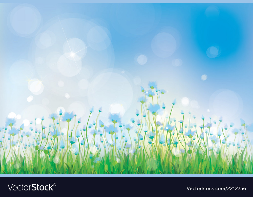 Summer flowers blue vector | Price: 1 Credit (USD $1)
